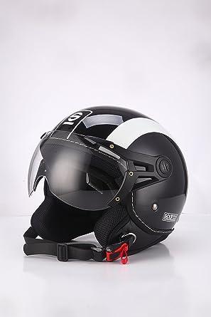 Sparco Riders Casco Moto Demi Jet, negro/blanco, talla M