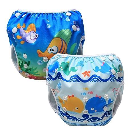0f584a3eb Luxja Pañal de Natación para bebes Bañador Reutilizable de Nadar de Bebé  Pañal lavable para Bebé