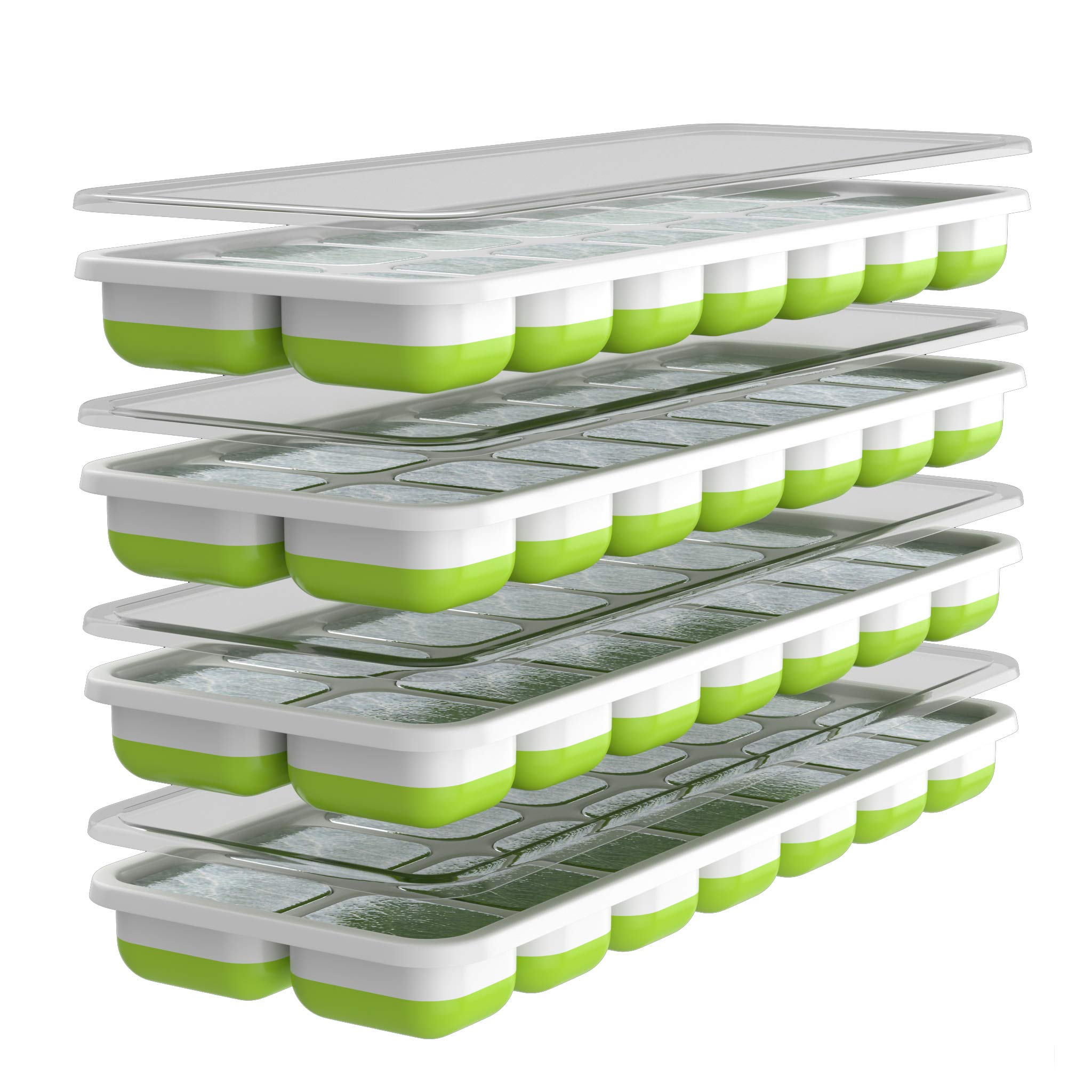 Oliver's Kitchen Ice Cube Trays - 4 x Set of Ice Moulds - Flexible Base for Easy Release Ice Cubes - Save Freezer Space with Non-Spill Stackable Lids - Dishwasher Safe - BPA Free Silicone Ice Molds