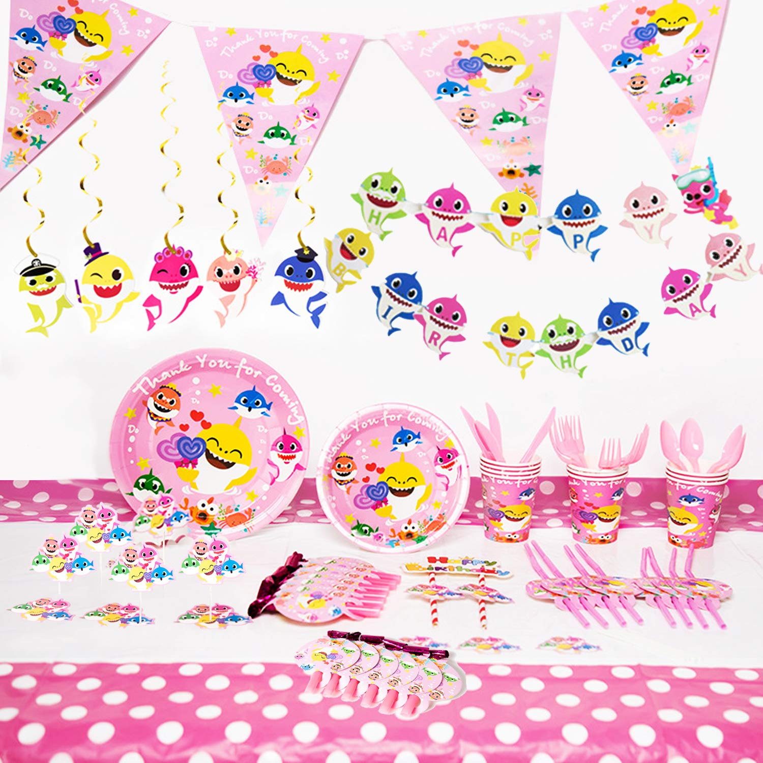 Baby Cute Shark Party Supplies Set, 126 Pieces Shark Party Decoration For Baby Birthday Favor, Shark Party Tableware Cake Topper Banner Pennant Hanging Decorations Whistle Straws and Dessert Set, Doo Doo Decorations Supplies (Pink)