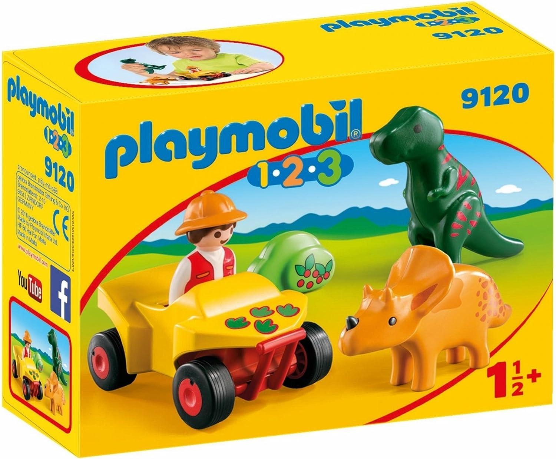 PLAYMOBIL 1.2.3-9120 Quad con 2 Dinos, Multicolor, única (9120)