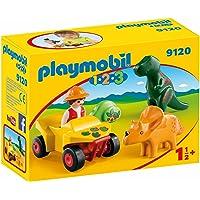 PLAYMOBIL 1.2.3-9120 Quad con 2 Dinos, Multicolor, única