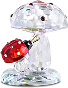 H&D HYALINE & DORA Crystal Ladybug on Mushroom Figurine Statues Home Table Decoration Ornament Collectible