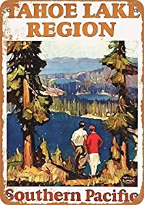 Vintage New Tin Poster 1928 South Pacific Tahoe Lake Region Travel Metal Tin Sign 8x12 Inch Retro Home Bar Restaurant Garden Garage Classic Cafe Shop Wall Decor Metal Plaque