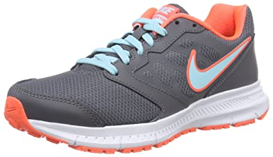 NIKE Womens Downshifter 6 Dark Grey Copa Hyper Orange AnkleHigh Leather  Running Shoe