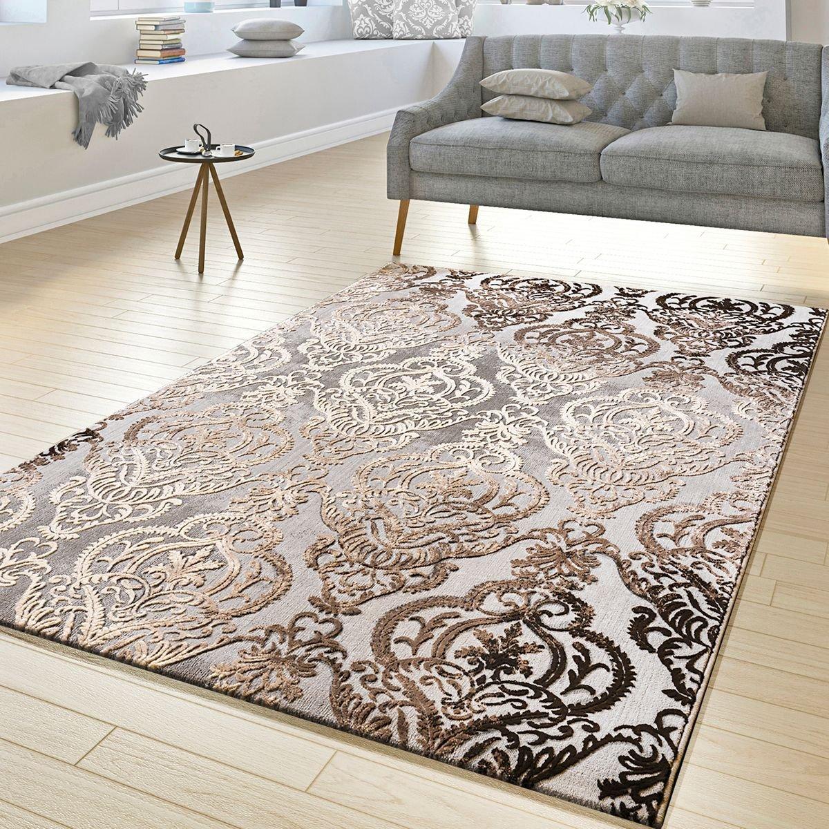 T& T Design Tappeto Salotto Astratto Ornamento Disegno A Pelo Corto Tappeto Mélange Grigio Beige, Größe:80x150 cm