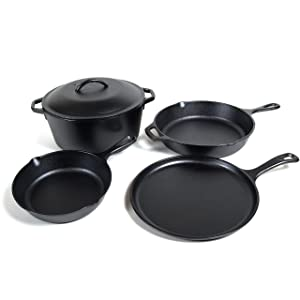 "Lodge Seasoned Cast Iron 5 Piece Bundle. 10.5"" Griddle, 8"" Skillet, 10.25"" Skillet, 10.25"" Dutch Oven, and 10.25"" Lid"