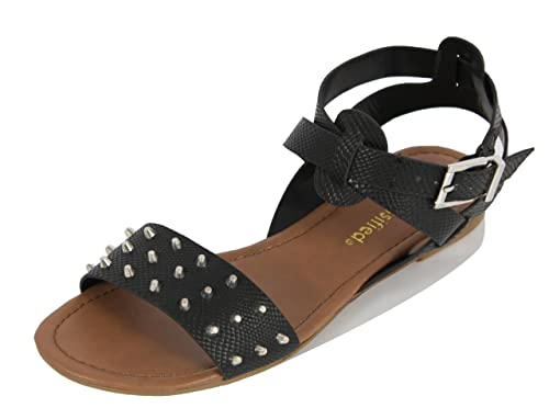 09402989040c Cityclassified Women s Dart Faux Leather Studded Wide Strap Ankle Strap  Flat Sandals