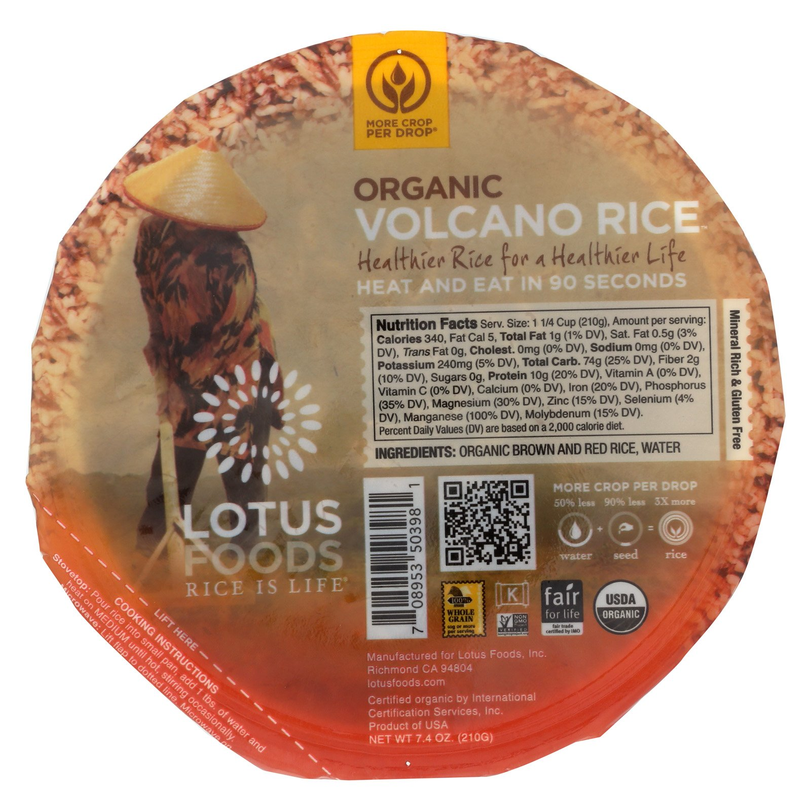 Lotus Foods Organic Volcano Rice - Case of 6-7.4 oz.