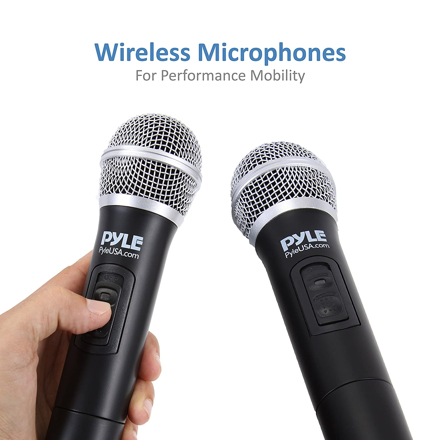 Pyle Portable Home Theater Karaoke Microphone Mixer Mc 44 Multi Function Schematic Wiring Diagram System Set W Dual Uhf Wireless Mic Hdmi Aux Audio Play Via Device Speaker Works With