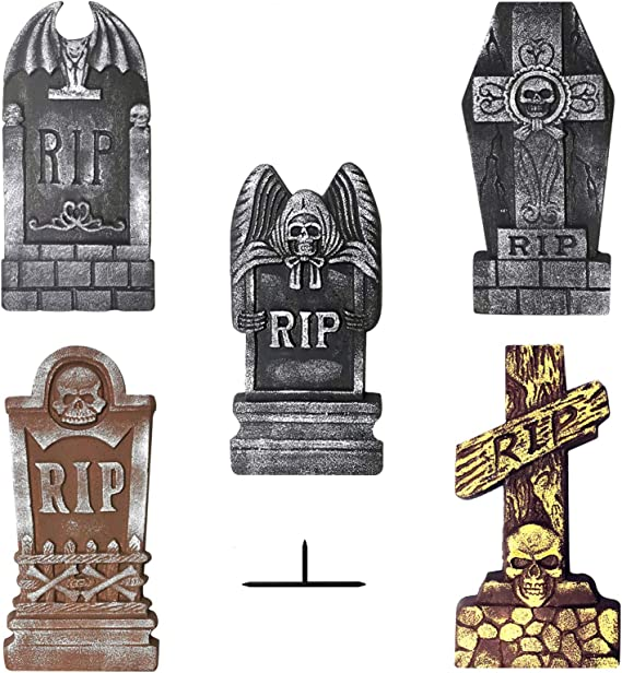 Tombstone Plastic Yard Stakes 3 Assorted Styles Measuring 12 x 9 inches