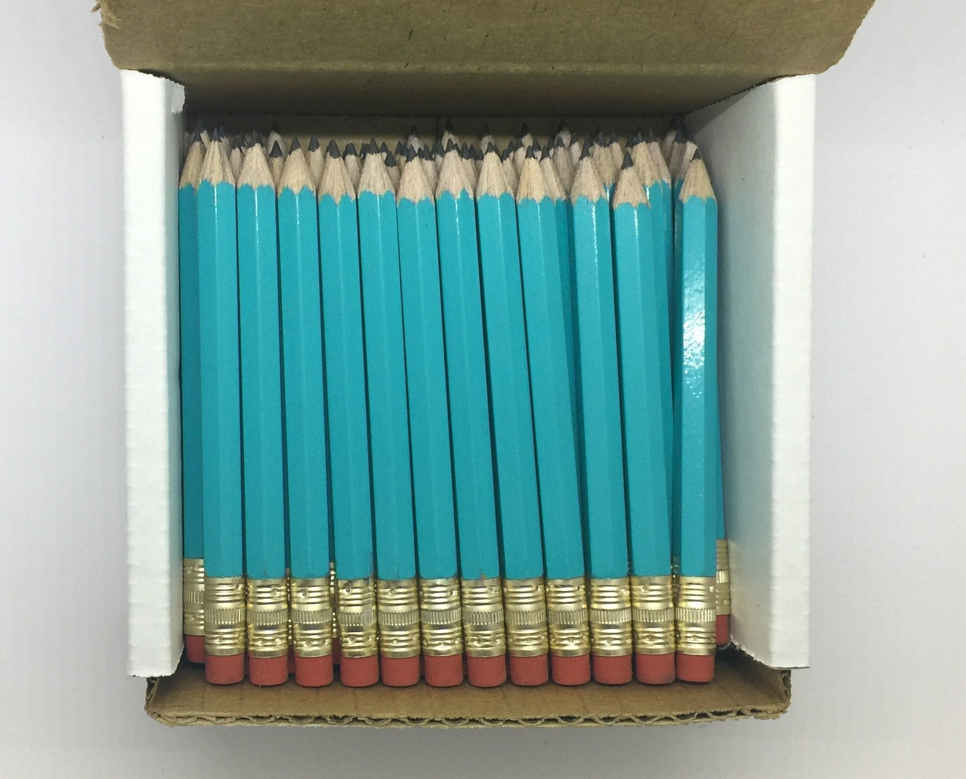 Half Pencils with Eraser - Golf, Classroom, Pew, Short, Mini - Hexagon, Sharpened, Non Toxic, #2 Pencil, Color - Light Turquoise, (Box of 48) Golf Pocket Pencils by Express Pencils