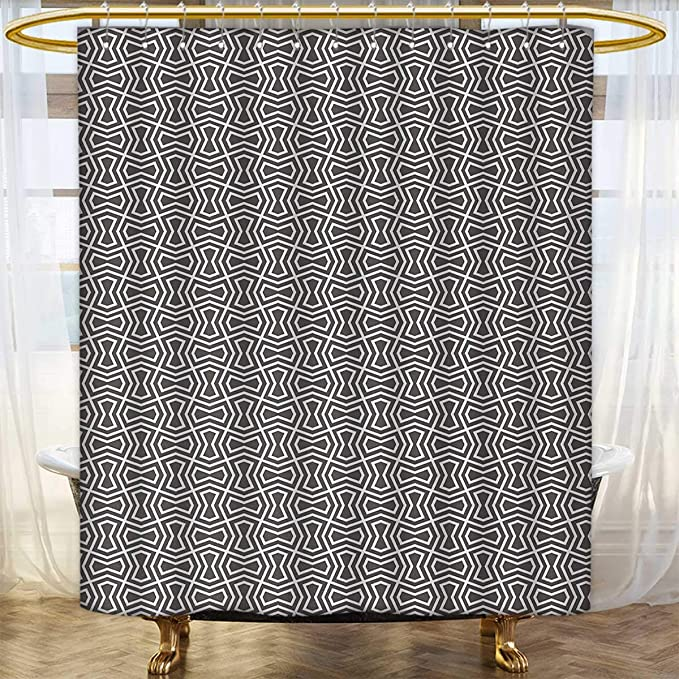 Anhounine Geometric Shower Curtains Mildew Resistant Abstract Lines Geometric Designs Arabic Influences Oriental Motifs Satin Fabric Bathroom Washable 84 X72 Charcoal Grey White Amazon Co Uk Kitchen Home
