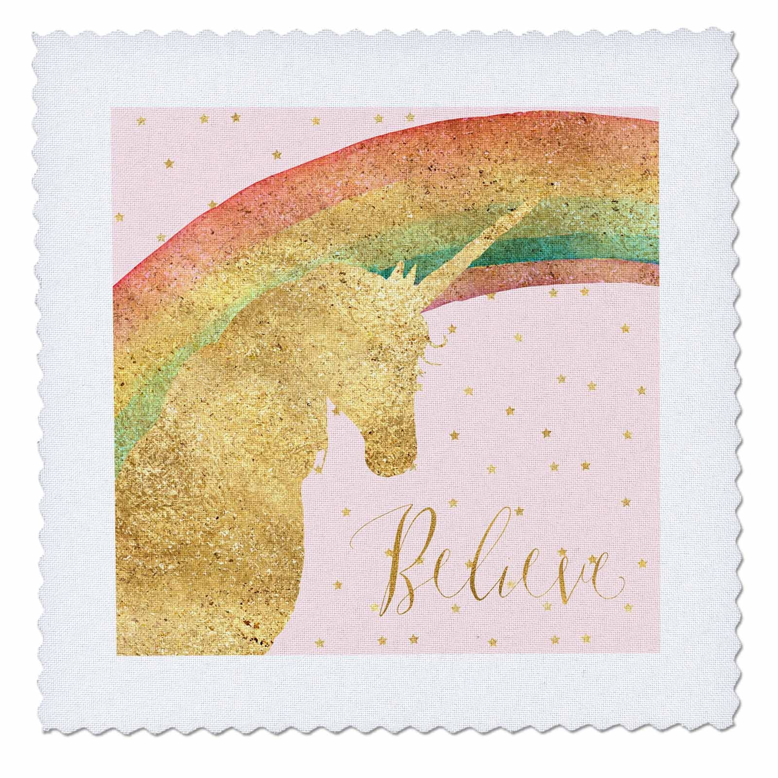3dRose PS Animals - Image of Gold Pink Stars Unicorn Rainbow Believe - 16x16 inch quilt square (qs_280670_6)