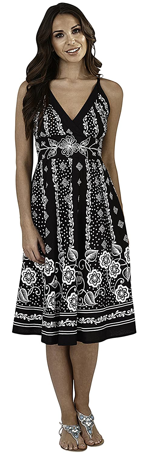 Dannii Matthews Ladies 100% Cotton Floral and Dot Print Strappy Mid Length Summer Dress With Crossover V Neck, Black or Blue Small d843