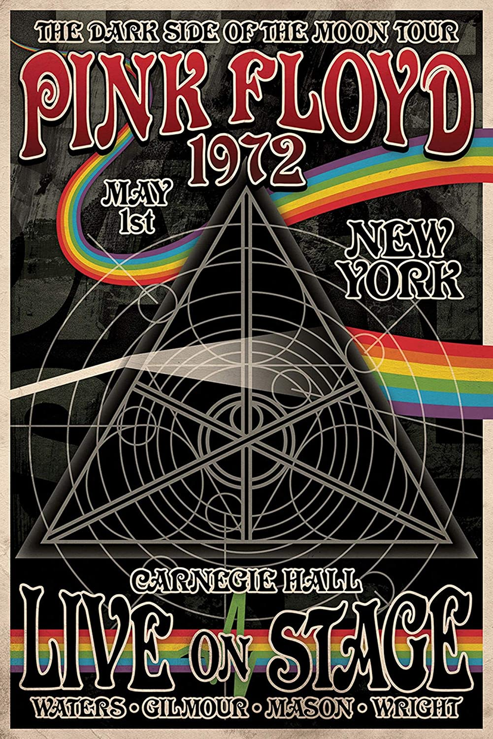 The Dark Side of the Moon tour poster 1972-1973 Artwork//Print. Pink Floyd