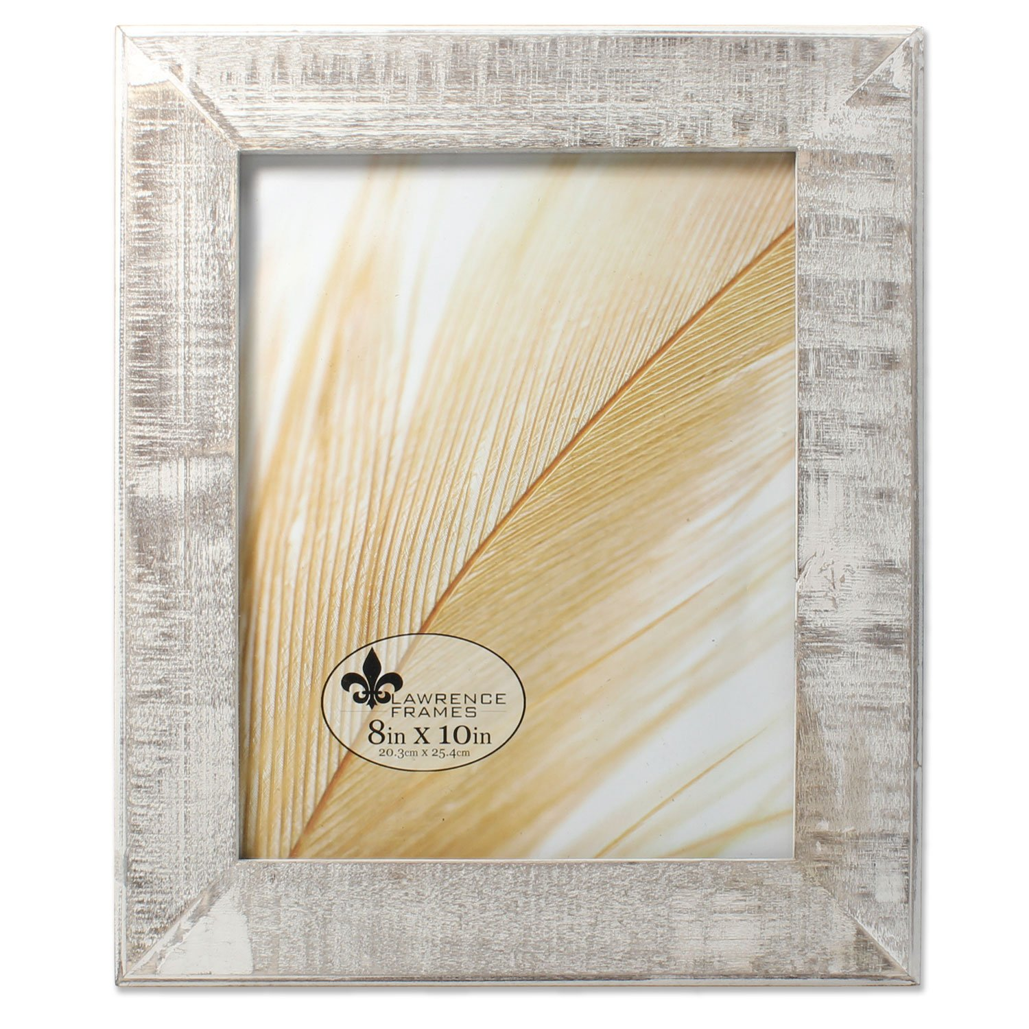Lawrence Frames 8x10 Distressed Gray Wood with White Wash Picture Frame 734080