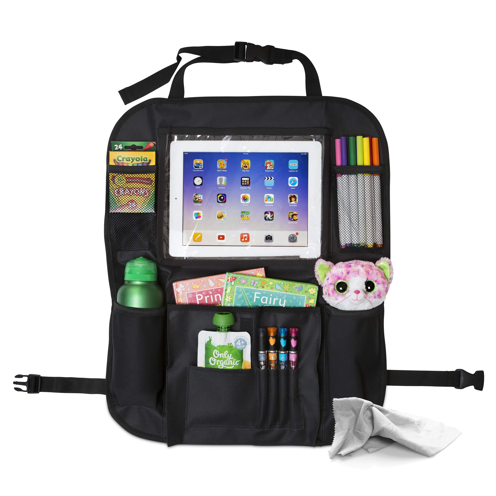 Car Backseat Organizer for Kids with iPad & Tablet Holder, Storage for Toys, Wipes & Bottles with Thermo Pockets - Auto Kick Mat & Car Seat Protector