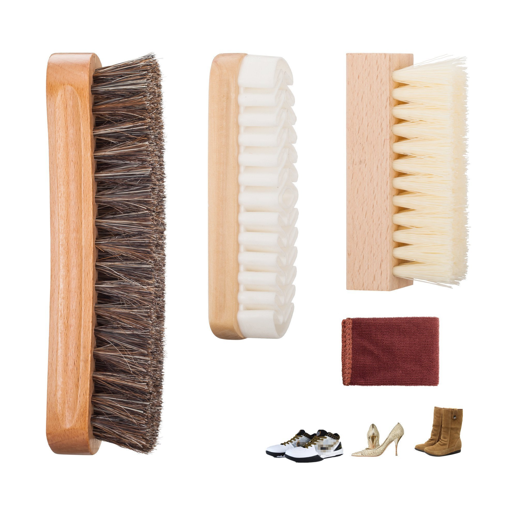 Premium Shoe Brush Kit & Valet with Horsehair Shine & Crepe Suede Leather & Synthetic Bristle Handcrafted Wood Block Brush for Shoes brushing, Bags, Leather cloth clean- 3 Pieces by chuanyuekeji (Image #1)