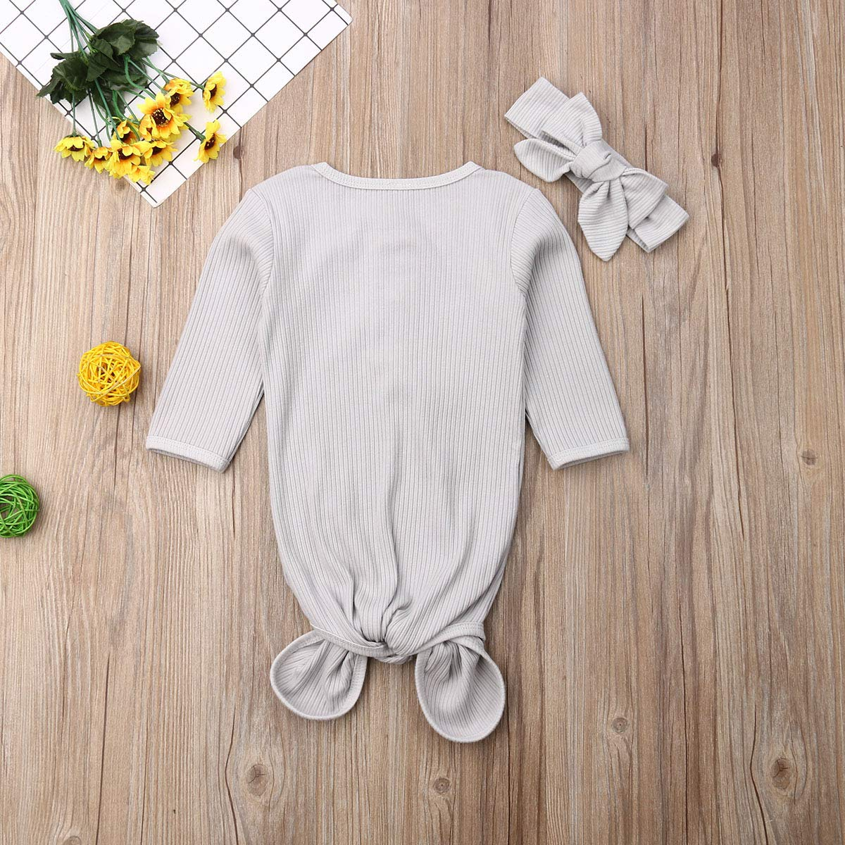 Newborn Baby Girl Floral Nightgowns Long Sleeve Lovely Cotton Sleeper Pajamas Baby Gown with Headband