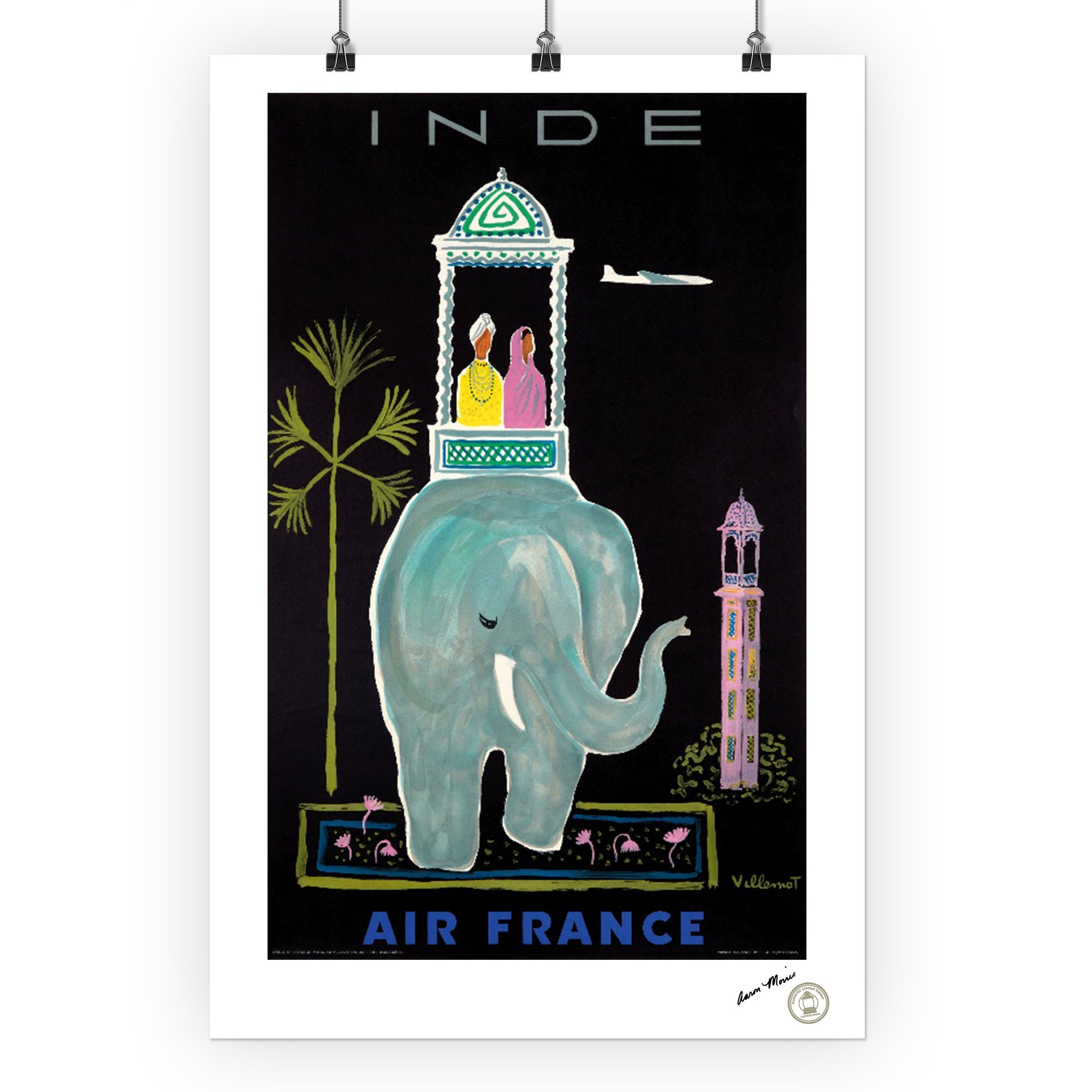 Air France - India (artist: Villemot) France c. 1956 Vintage Advertisement (24x36 SIGNED Print Master Giclee Print w/ Certificate of Authenticity - Wall Decor Travel Poster) by Lantern Press (Image #3)