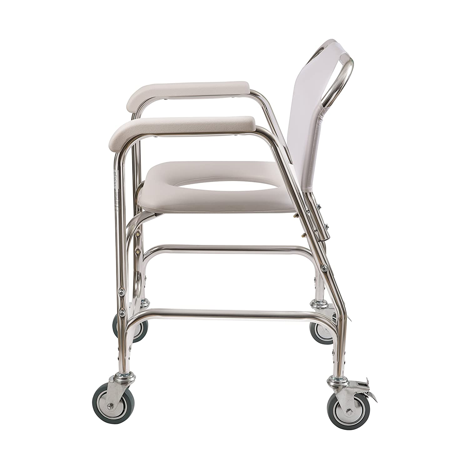 pvc commode chair with wheels and foot rest amazon com duro med shower chair with