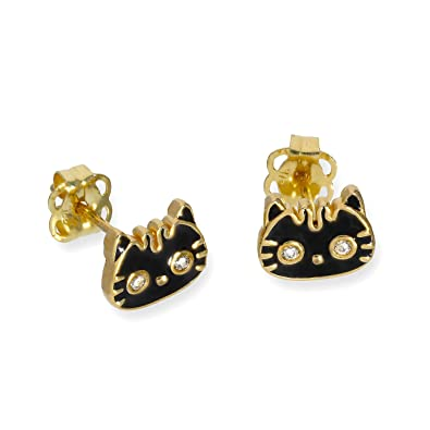 9ct Gold Black Enamel & Clear CZ Crystal Cat Face Stud Earrings icYVXAvTX
