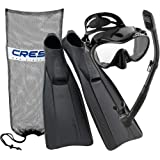 Cressi Clio Full Foot Fin Frameless Mask Dry Snorkel Set with Carry Bag, Black, Size 8.5/9.5-Size 43/44