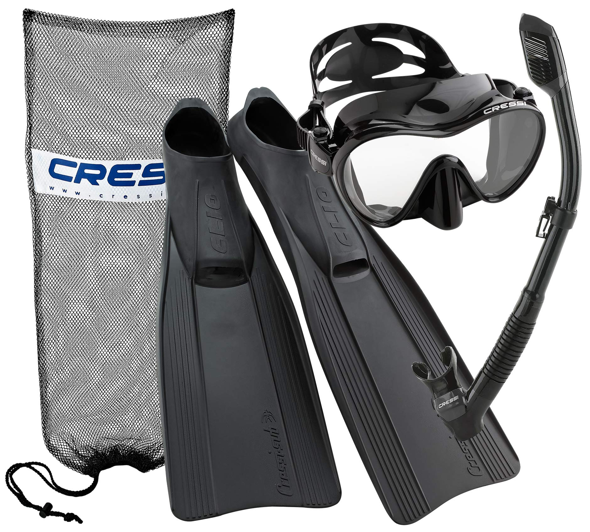 Cressi Clio Full Foot Fin Frameless Mask Dry Snorkel Set with Carry Bag, Black, Size 5.5/6.5-Size 39/40 by Cressi