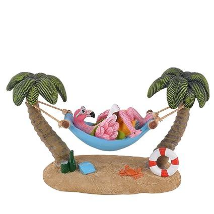 Flamingo Funny Beach Design Deko Figur Resin 16x15x10cm bunt