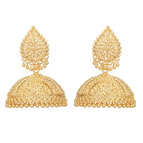 dd9c2d54c Image Unavailable. Image not available for. Color: Jwellmart Indian Ethnic  Partywear Traditional Gold Plated Self Design Jhumka Jhumki Earrings ...