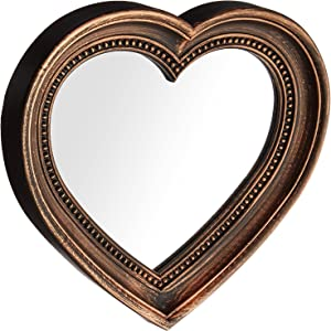 """Angel's Treasure 13"""" x 12"""" Heart Shaped Wall Mounted Mirror, Vintage Antique Bronze Style"""