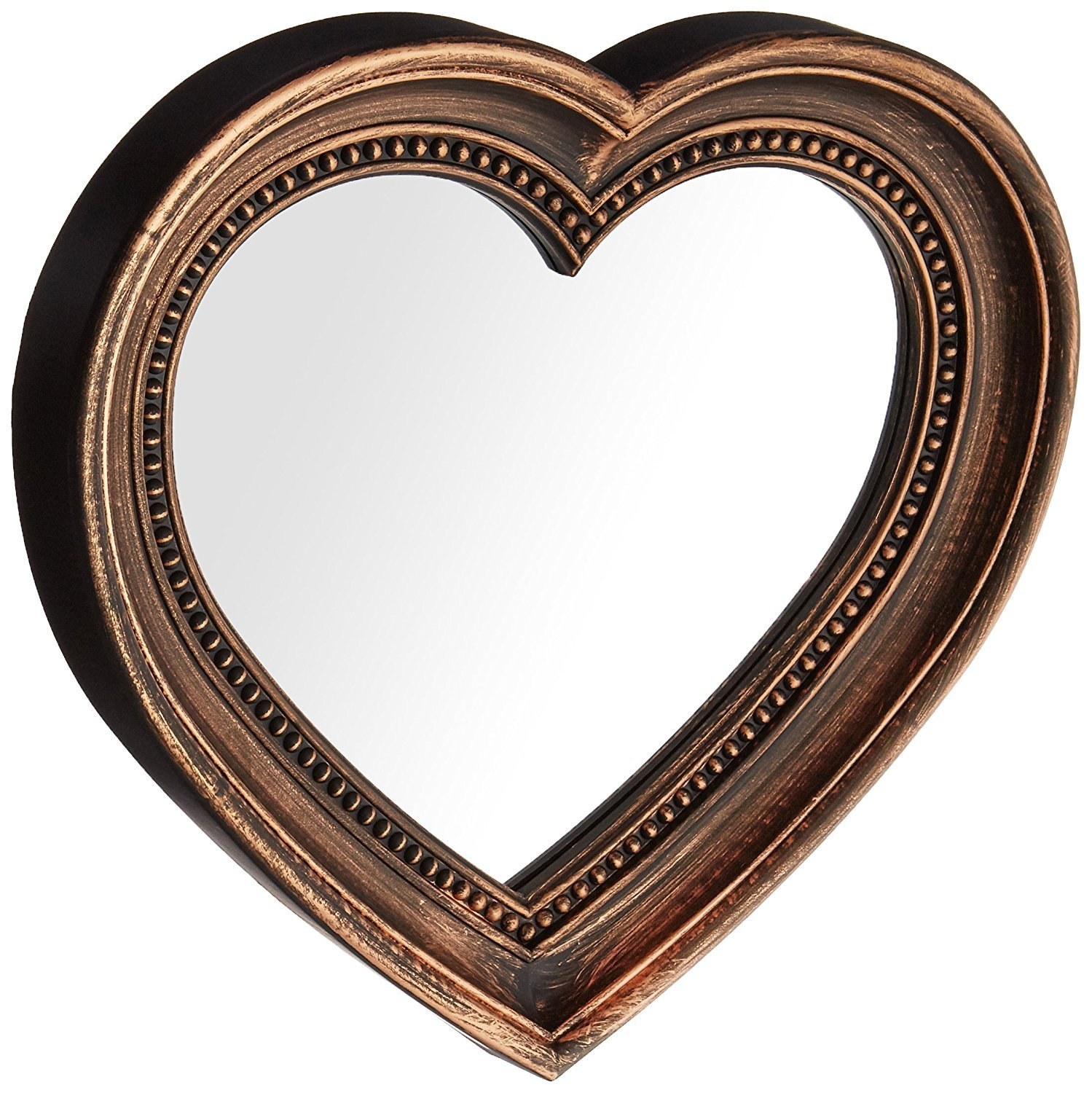 Angel's Treasure 13'' x 12'' Heart Shaped Wall Mounted Mirror, Vintage Antique Bronze Style