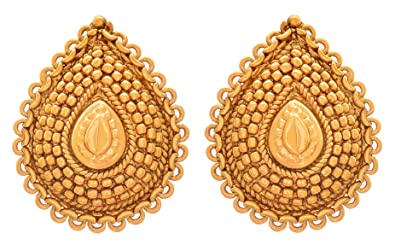 d8e732b8c Jfl - Jewellery For Less Traditional Ethnic One Gram Gold Plated Drop Shap  Stud Earring For