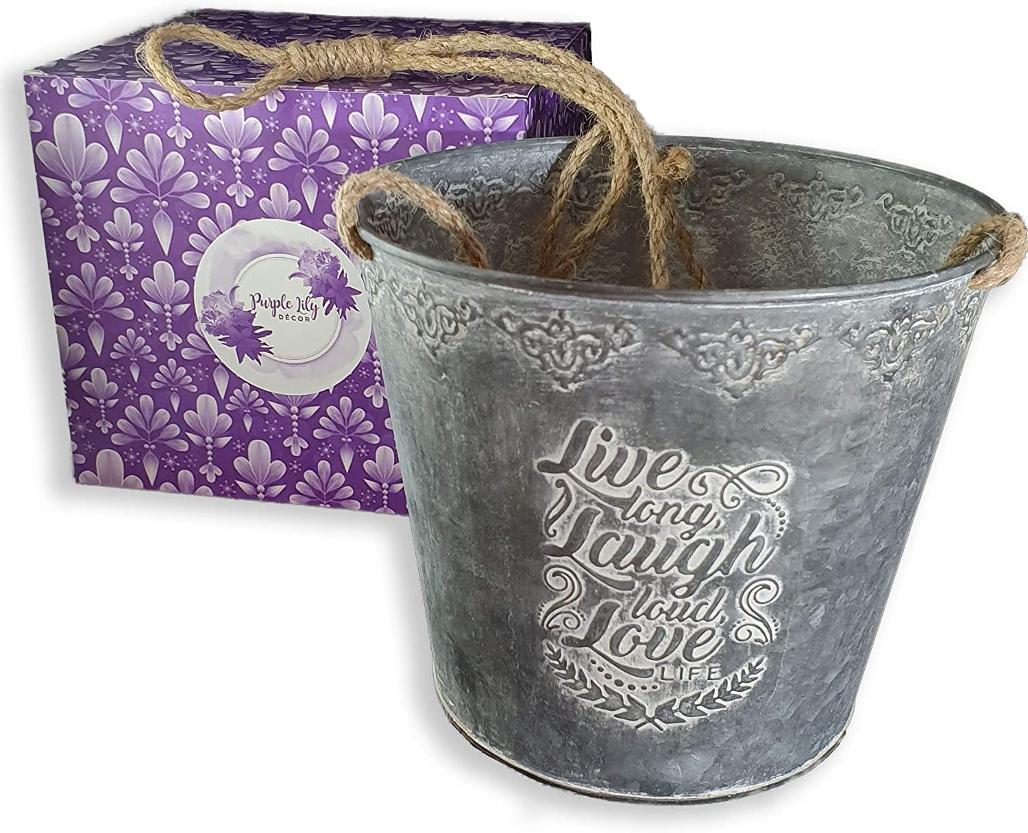 """Galvanized Metal Utensil Holder or Planter with Gift Box 