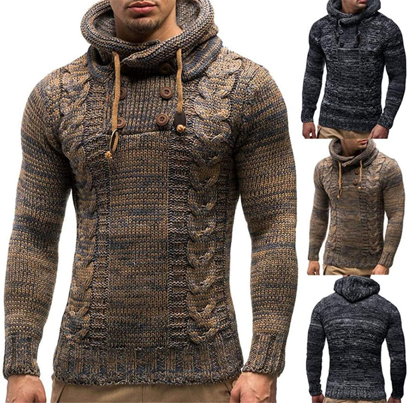 Bstge Mens Fashion Turtle Neck Knit Pullover Sweater
