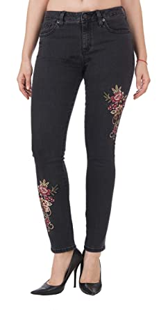 53320b3bcf6 Miss Me Women s Ankle Skinny Jeans Black Embroidered Flowers Stitching ...