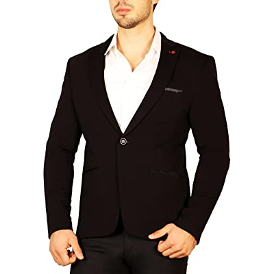 Men's Contrast Lapel Pin Fitted Blazer at Amazon Men's Clothing store