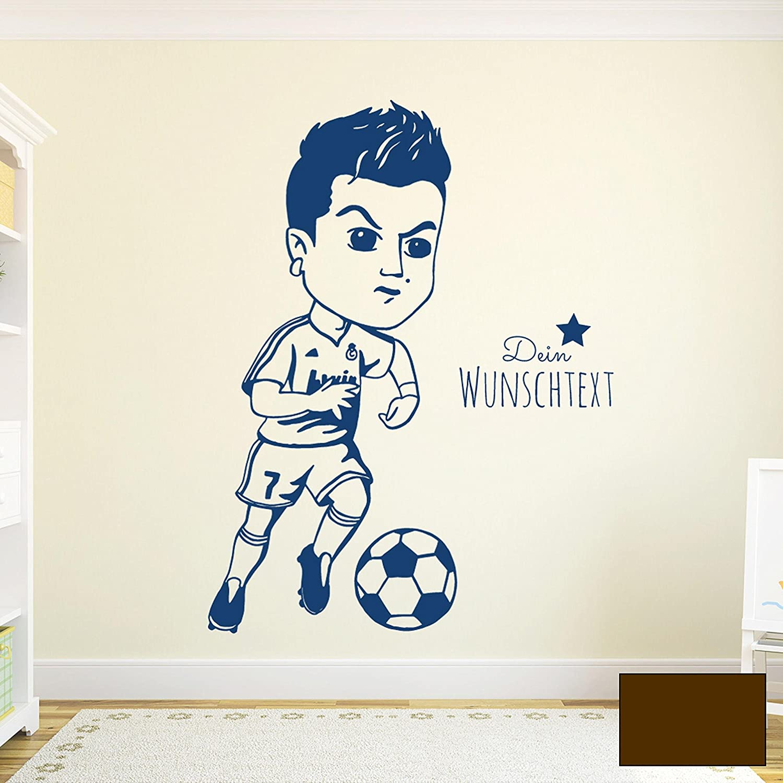Wandtattoo Wandaufkleber Wandsticker Wandbild Aufkleber Sticker Fussball Fussballspieler Ronaldo mit Wunschtext M1963 ausgewählte Farbe  blau ausgewählte Größe  XL - 77cm breit x 100cm hoch B01GQE3VCM Wandtattoos & Wandbilder
