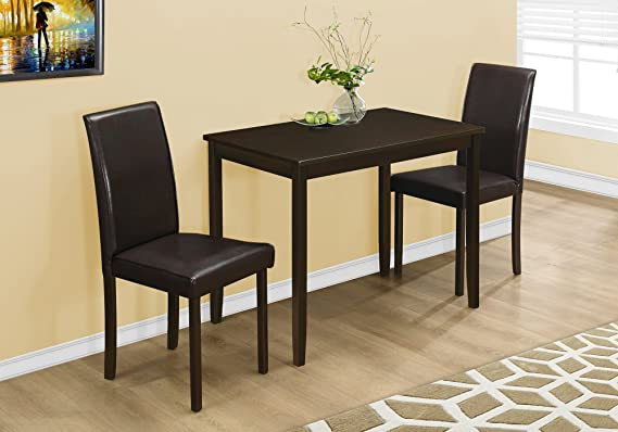 Monarch Specialties I 1015, Dining Set Set, Parson Chairs, Cappuccino, 3pcs by Monarch Specialties