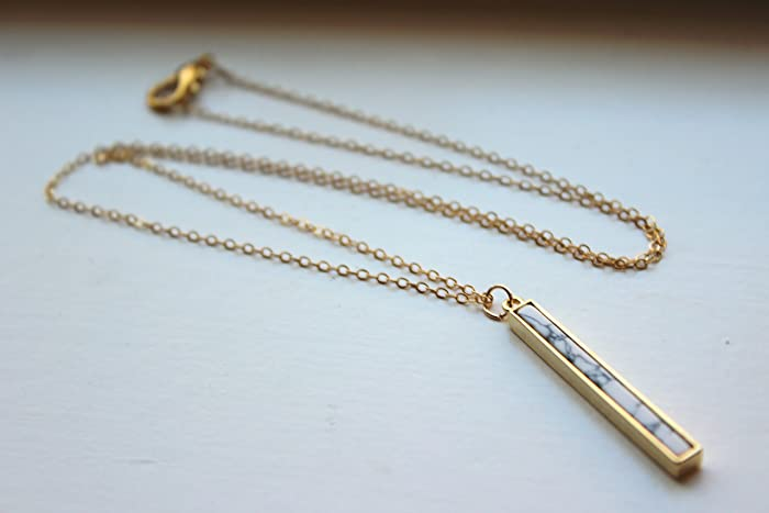 511a6ab2b1ce8 Amazon.com: White Howlite Bar Necklace 14k Gold Filled Chain ...