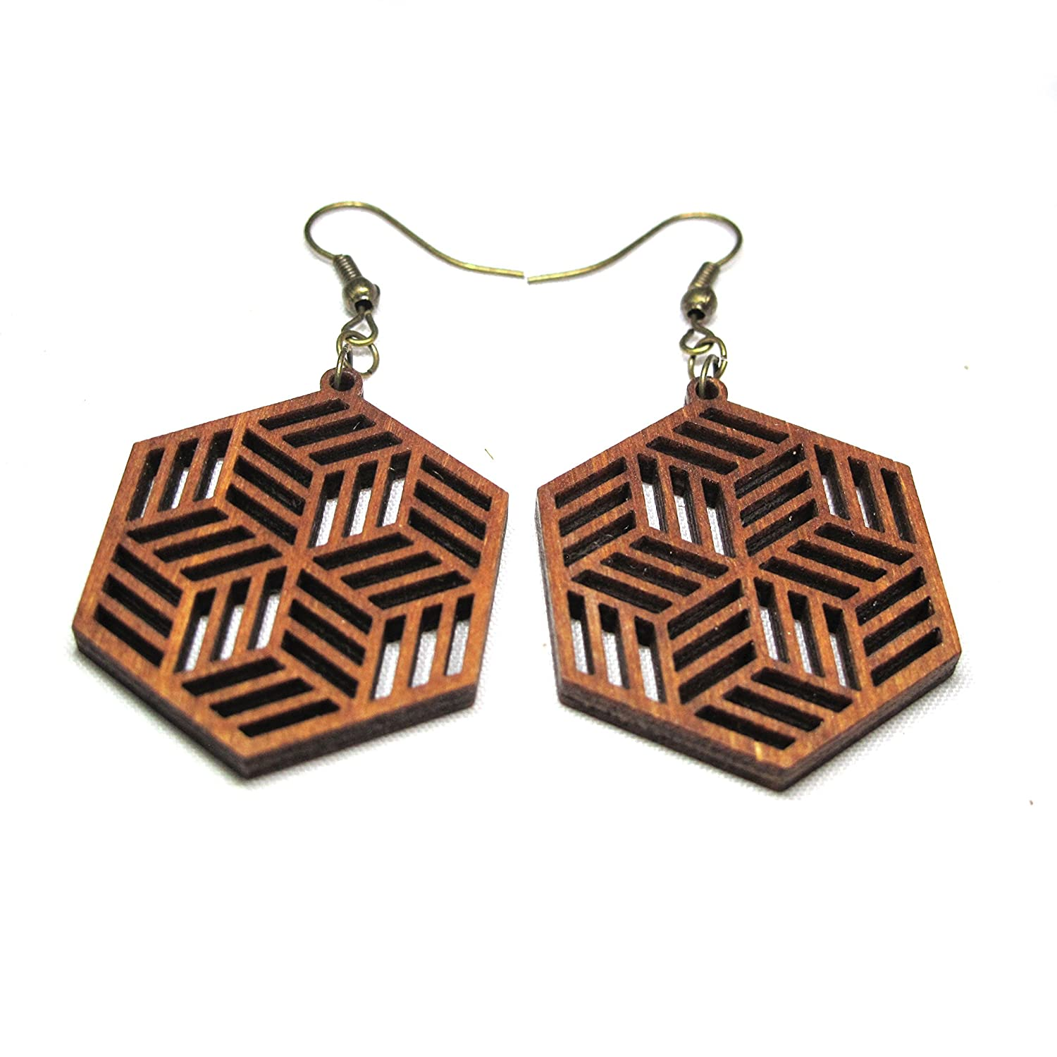 Hipster Wooden Laser Cut earrings, Psychedelic Designer jewelry