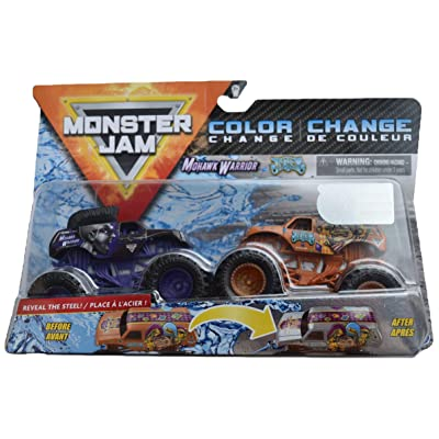 MonsterJam 1:64 Scale Color Change Mohawk Warrior Vs Jester: Toys & Games