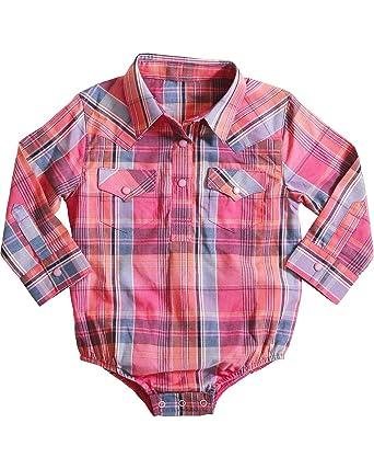1344db83 Wrangler Infant-Girls' Plaid Western Onesie - Pq1051m - Pink - 3-6 Months:  Amazon.co.uk: Clothing