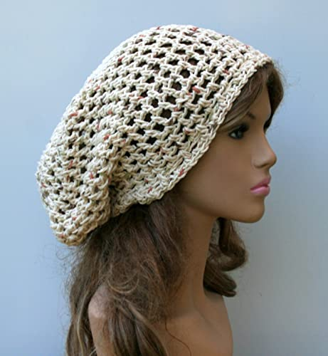 a698e9789ba Amazon.com  Handmade Cotton hippie dread tam hat slouchy beanie snood style  fall potpourri  Handmade