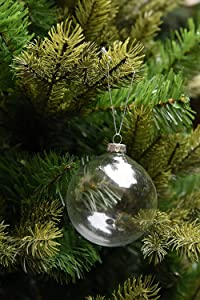 Sparkle Style 6 X Hanging Clear Round Glass Christmas Tree Balls Baubles Spheres Ornaments, 8 cm in Diameter, Perfect for Garden Outdoor Wedding Decoration or DIY Personalize Gift