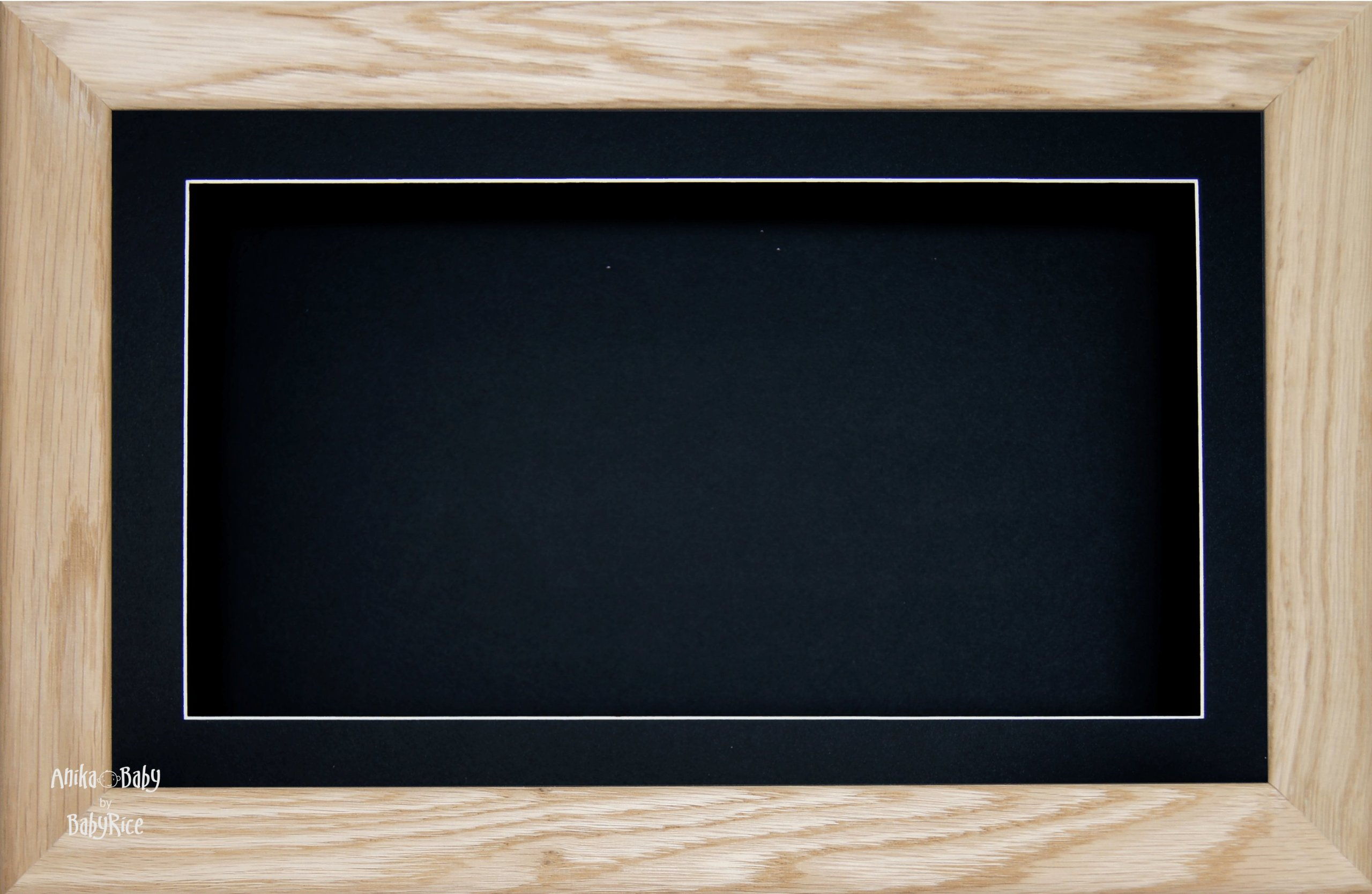 BabyRice Large 7x13'' / 13x7'' Display Wooden Box Frame in Solid Oak Wood with Black Mount Card & Backing Card, Glass Front 14.5x8.5''