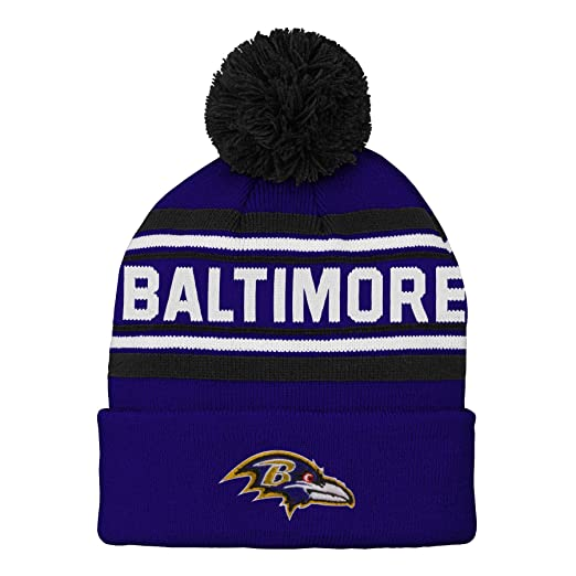 separation shoes dfc9b 43ee9 Outerstuff NFL Baltimore Ravens Kids   Youth Boys Jacquard Cuffed Knit Hat  with Pom Ravens Purple
