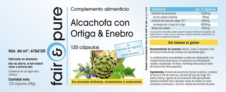 Extracto de Alcachofa con ortiga y enebro - 120 cápsulas veganas - suplemento de minerales - calcio - cinarina: Amazon.es: Salud y cuidado personal