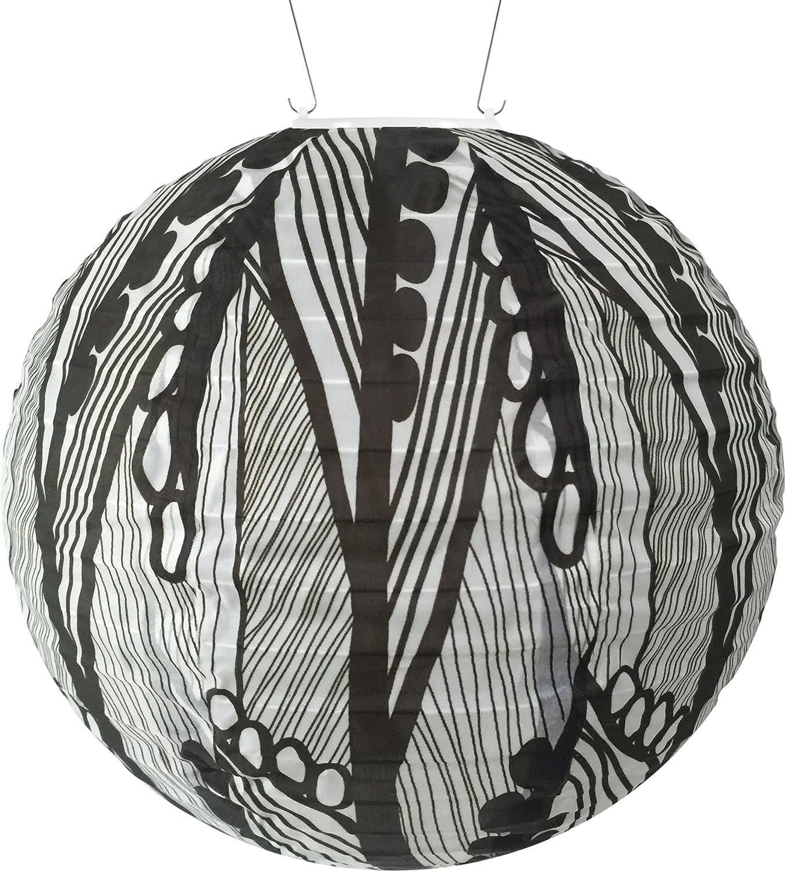 Allsop 31792 Soji Black & White Seed Leaf Round Solar Lantern